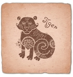 Tiger Chinese Zodiac Sign Horoscope Vintage Card vector image