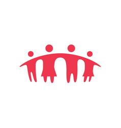 Together family parent and children bridge logo vector