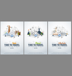 Travel to india brazil and australia time to vector