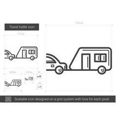 Travel trailer line icon vector