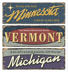 Vintage tin sign collection with usa vector