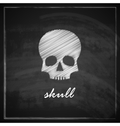 vintage with a skull on blackboard background vector image
