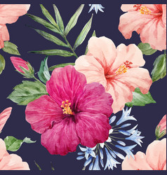 Watercolor tropical hibiscus pattern vector