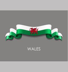 welsh flag wavy ribbon background vector image