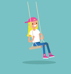 Young blond girl sitting on the swing editable vector