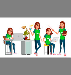 Young business woman character environment vector
