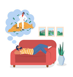 Young man dreaming about money flat vector