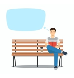 Young man reading book on bench vector image