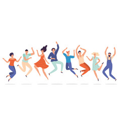 young people jump jumping teenagers group happy vector image