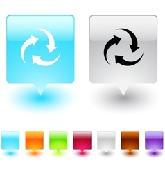 recycle square button vector image vector image