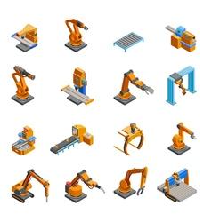 Robotic mechanical arm isometric icons set vector