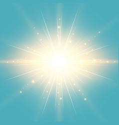 Sun in the blue sky vintage background with vector