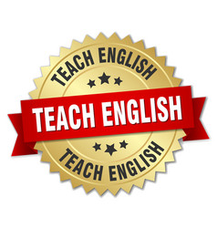 Teach english round isolated gold badge vector