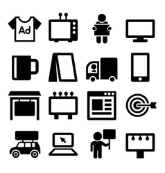 Advertisement Icons Set on White Background vector image