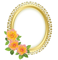 Golden oval frame with flowers vector