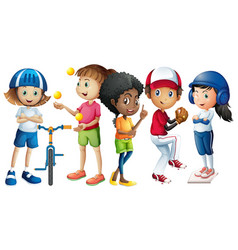 many children in different sport outfit vector image vector image