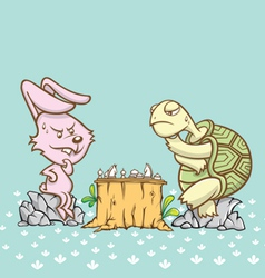 rabbit and turtle are playing a chess game vector image vector image