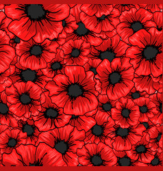 red poppy flower seamless pattern for fabric vector image vector image