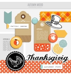 Set of autumn fall scrapbooking and web vector image vector image