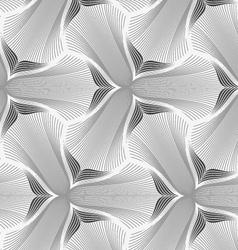 Slim gray hatched trefoil flower vector image