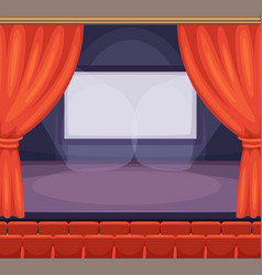 theatre or cinema stage with red curtains vector image
