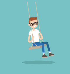 young nerd sitting on the swing editable flat vector image