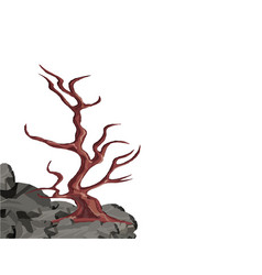 landscape a curved tree without leaves on a rock vector image vector image