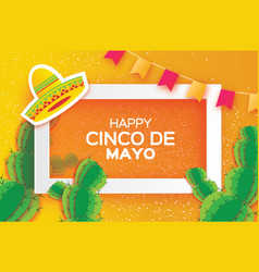orange happy cinco de mayo greeting card origami vector image