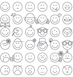Outline Simple Circle Faces Set Emotions Faces vector image