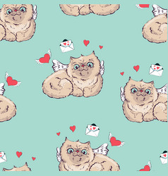 seamless pattern background angel cat vector image vector image