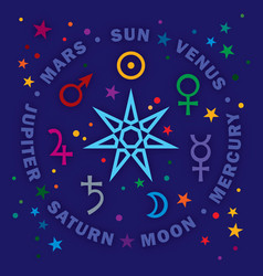 the septener star of the magicians seven planets vector image