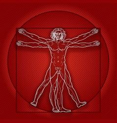 The vitruvian man homo vitruviano red version vector