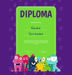 vertical children diploma or certificate vector image vector image