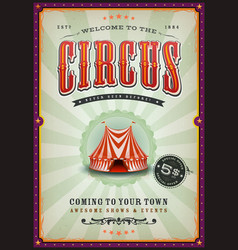 vintage circus poster with sunbeams vector image vector image
