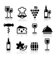 Wine icons set - glass bottle restaurant food vector image