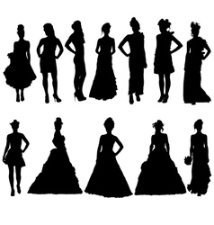 Women silhouettes in various dresses vector image vector image