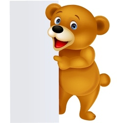 Bear with blank sign vector image vector image