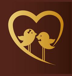 bird couple married gold heart card vector image vector image