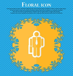businessman Floral flat design on a blue abstract vector image