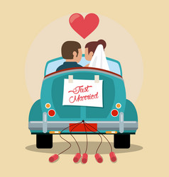 just married couple in love car vector image