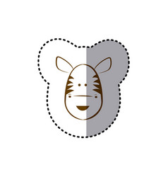 Sticker with brown line contour of face of zebra vector