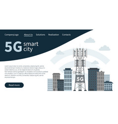 5g mast base station in smart city landing page vector