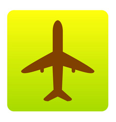 airplane sign brown icon at vector image
