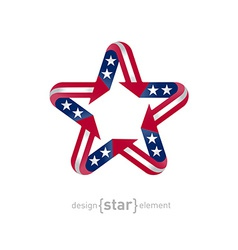 american star with flag color and symbol design vector image