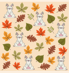 autumn seamless pattern with leaves and rabbits vector image