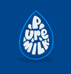 Banner with falling drop and pure milk typography vector