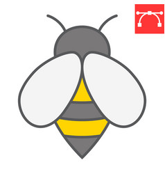bee color line icon insect and honey sign vector image