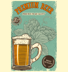 Beer poster template with mug and beer hop design vector