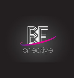Bf b f letter logo with lines design and purple vector