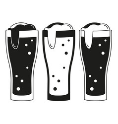 black and white 3 beer glasses silhouette set vector image